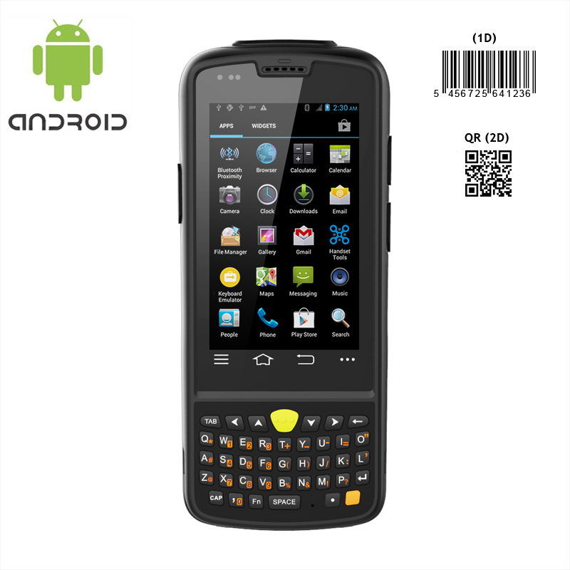 Rugged android PDA with 2D barcode scanner pistol grip option ideal for asset tracking ticketing