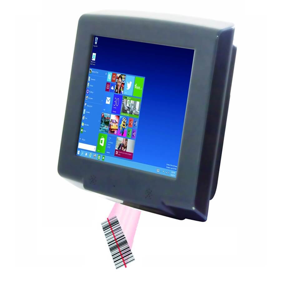 Price checker mini kiosk Windows wall mount POS system with barcode scanner