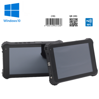 8 inch rugged IP67 tablet with 1D & 2D barcode scanner, NFC reader/writer, 3G, Wifi, Bluetooth, GPS and camera with windows 10