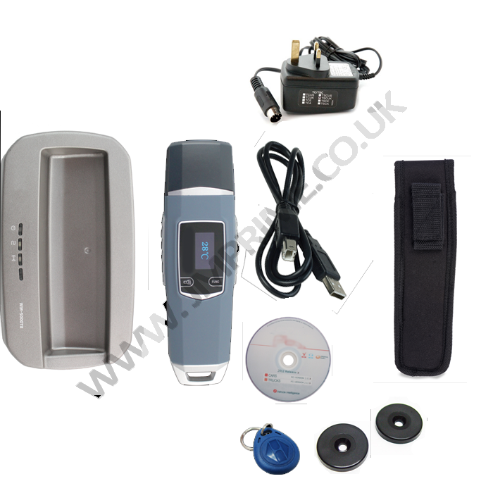 Package includes Reader, cradle, charger, holster, usb cable, software cd and 2 x checkpoint tags and 1 x guard id fob