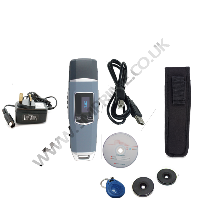 Package includes Reader, holster, usb cable, charger, software cd and 2 x checkpoint tags and 1 x guard id fob
