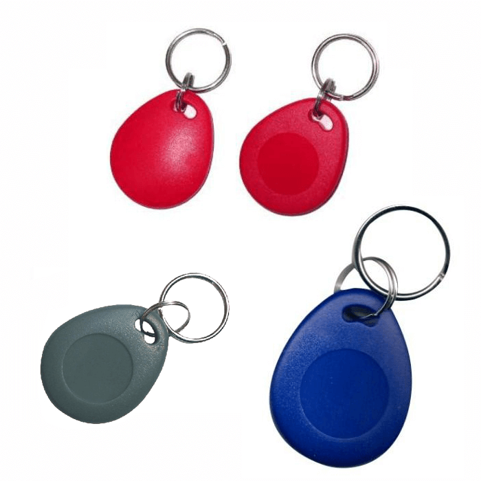 NFC ntag203 13.56mhz rfid contactless nfc keyfobs available in black, red, blue, grey and yellow