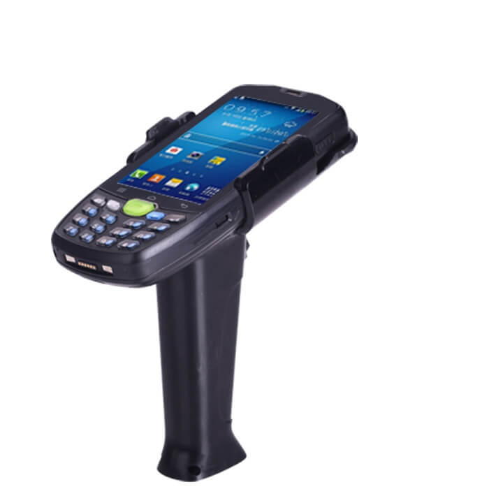 1D barcode reader with gun grip
