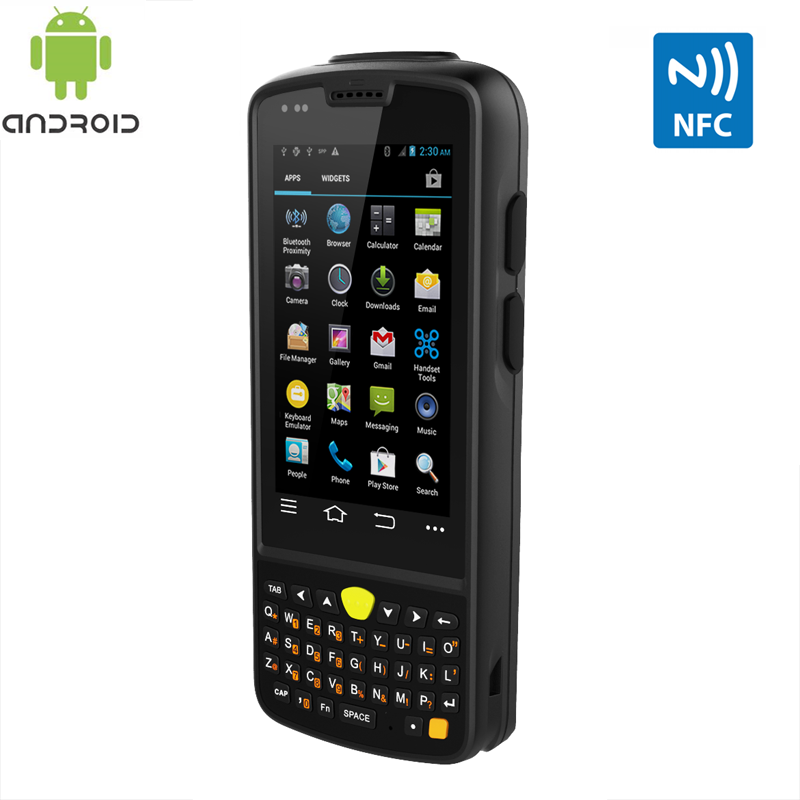 Rugged mobile device with Android 4.4 scans NFC 13.56mhz tags IP65 rating waterproof and extremely rugged with IPS screen.