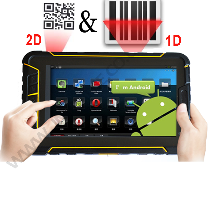 Android rugged tablet IP67 with built-in 2D barcode scanner 4G wifi bluetooth GPS camera
