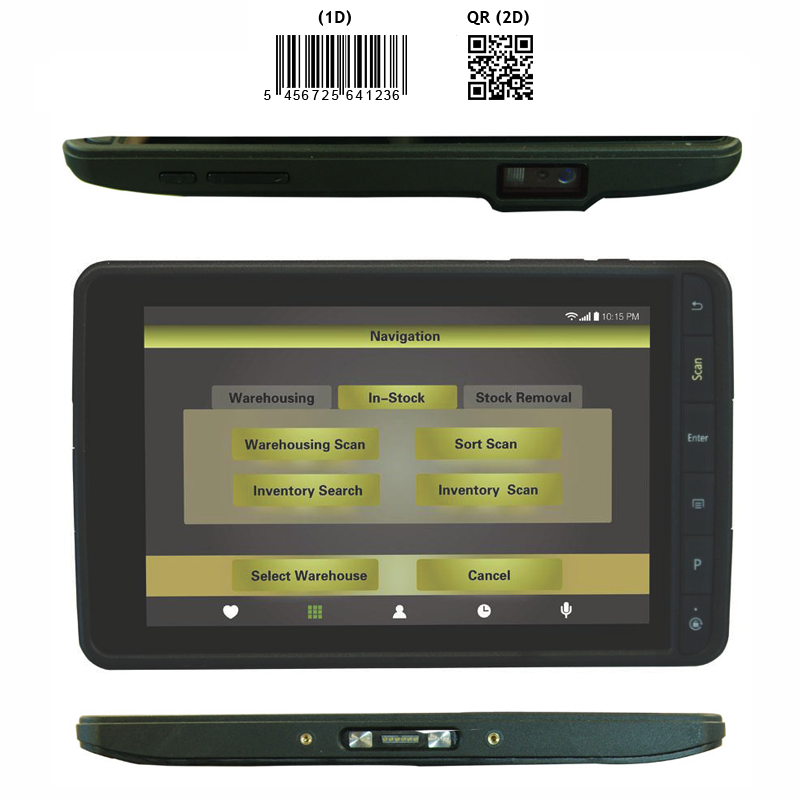 7 inch rugged IP67 tablet with 2D barcode scanner, NFC reader/writer, 3G, Wifi, Bluetooth, GPS and camera with Android 4.4