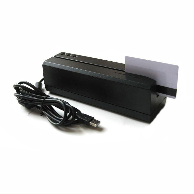 MSR206 magnetic swipe card encoder reads and writes HiCo and LoCo mag stripe cards