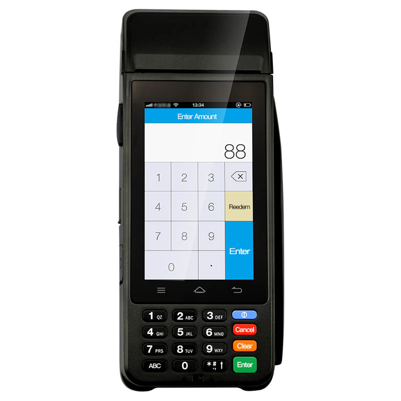Portable mobile payment handheld with built-in printer barcode scanner 4g wifi bluetooth MPOS