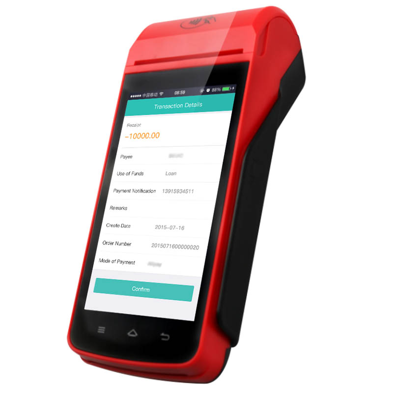 MPOS mobile payment device with printer, barcode scanner, camera, wifi, 4g, gps, bluetooth, NFC