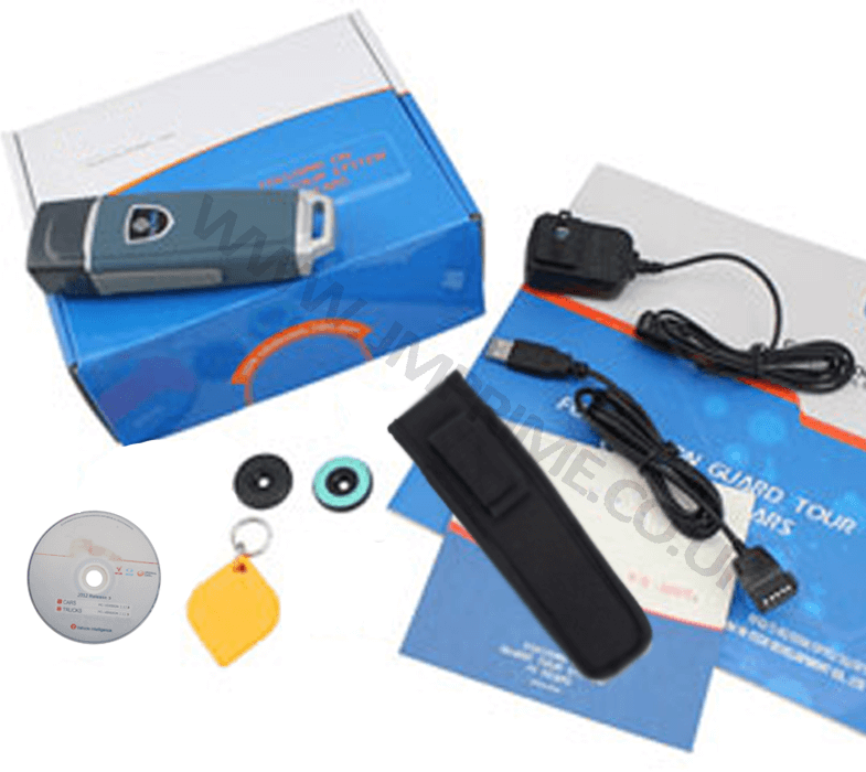 package contains reader, usb cable, power supply, checkpoint tags, guard id fob and holster